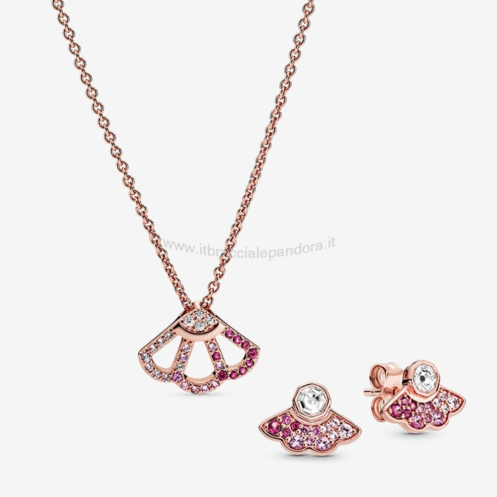 Outlet Pandora Collana Fan Rosa Collane & Orecchini Impostata