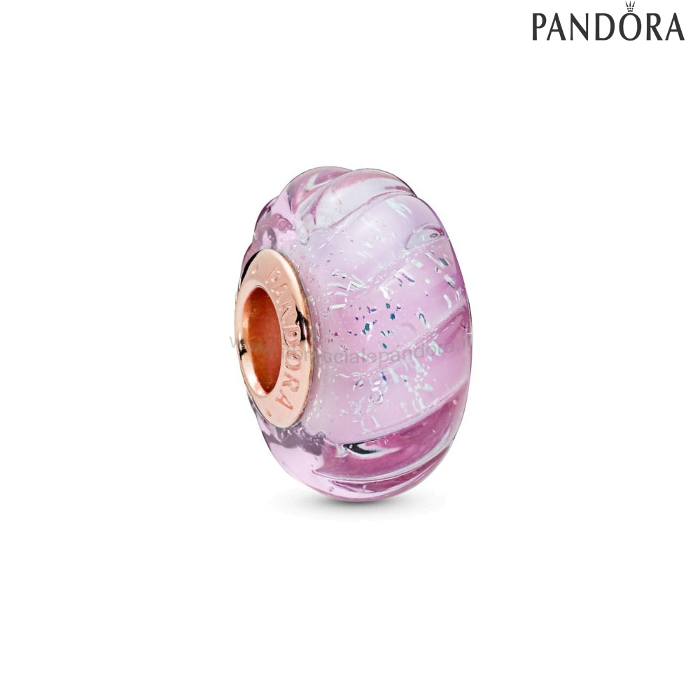 Outlet Pandora Pandora Rose Glittering Grooves Murano Charm