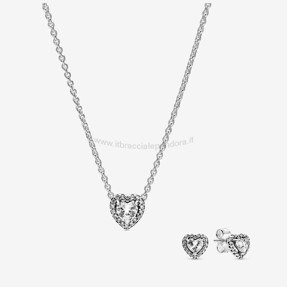Outlet Pandora Elevated Cuore Collane & Orecchini Impostata