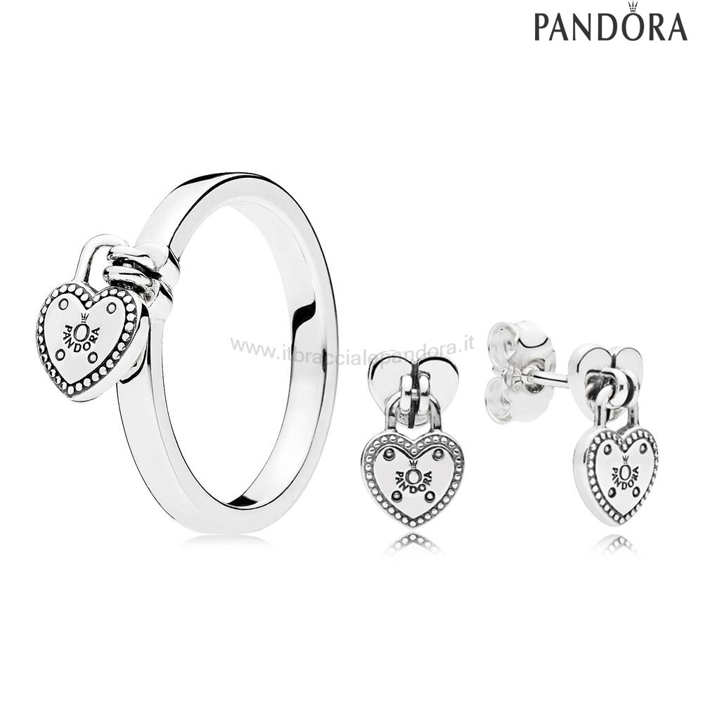 Outlet Pandora Amore Lock Anelli And Earring