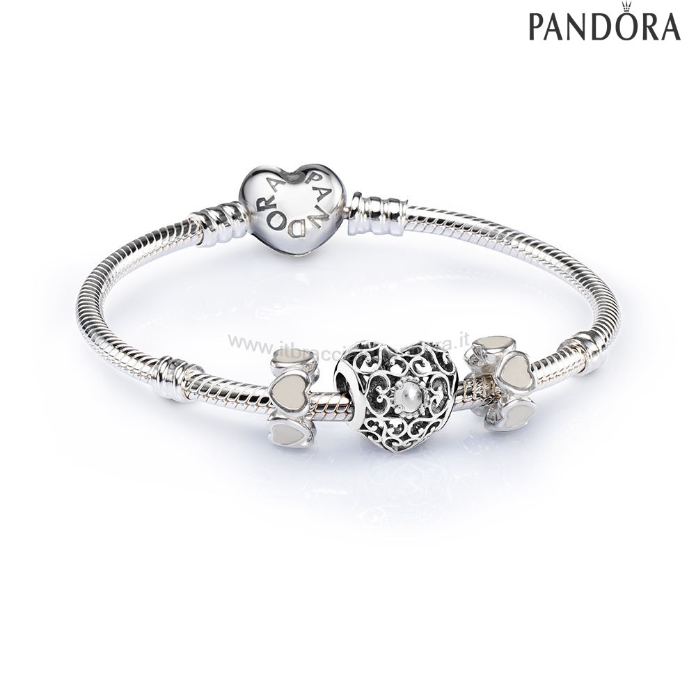 Outlet Pandora April Signature Heart Birthstone Charm Bracelet
