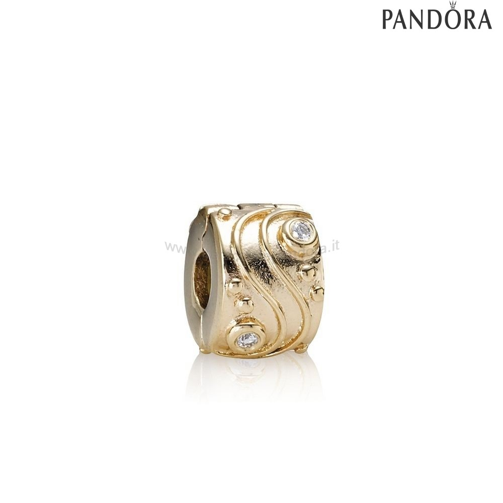 Outlet Pandora Babbling Ruscello Abstract Gold Clip Diamonds