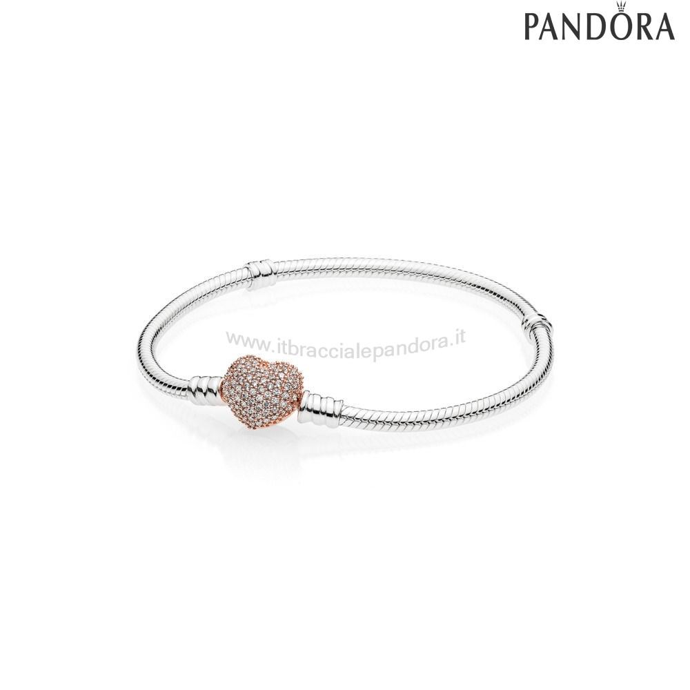 Outlet Pandora Bracciale In Argento Con Chiusura A Cuore In Pave In Rose