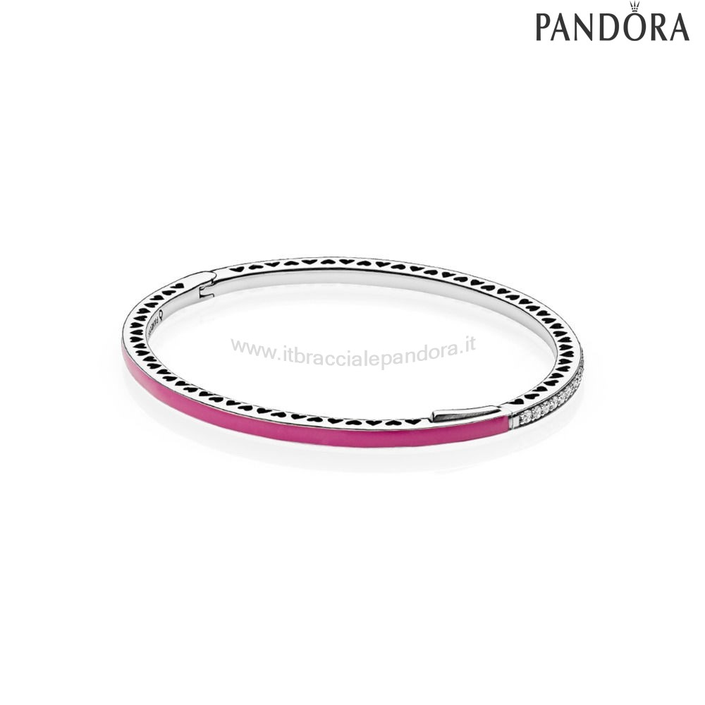 Outlet Pandora Bracciale Rigido In Argento Zirconia Cubica E Smalto Color Orchidea