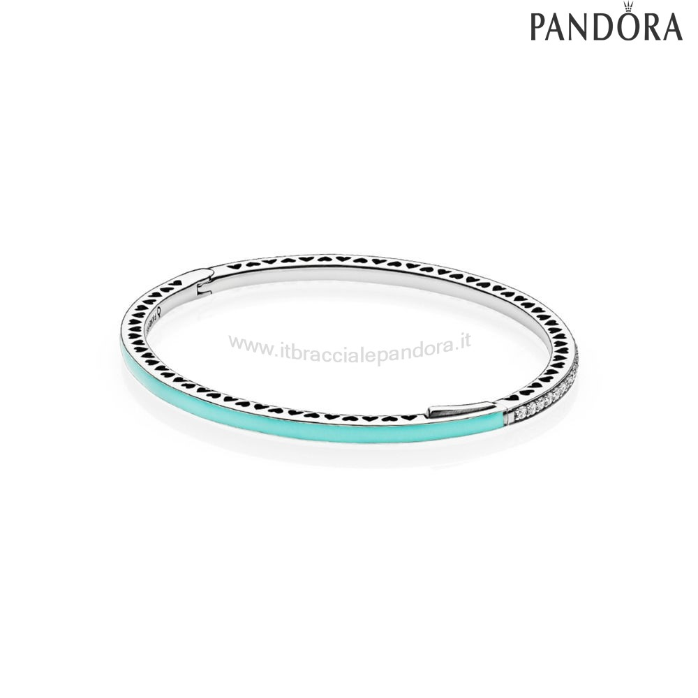 Outlet Pandora Bracciale Rigido In Argento Zirconia Cubica E Smalto Color Verde Menta