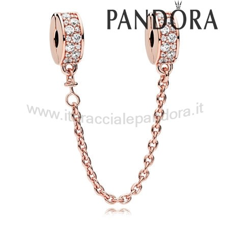 Outlet Pandora Eleganza Splendente Safety Chain Rose Chiaro