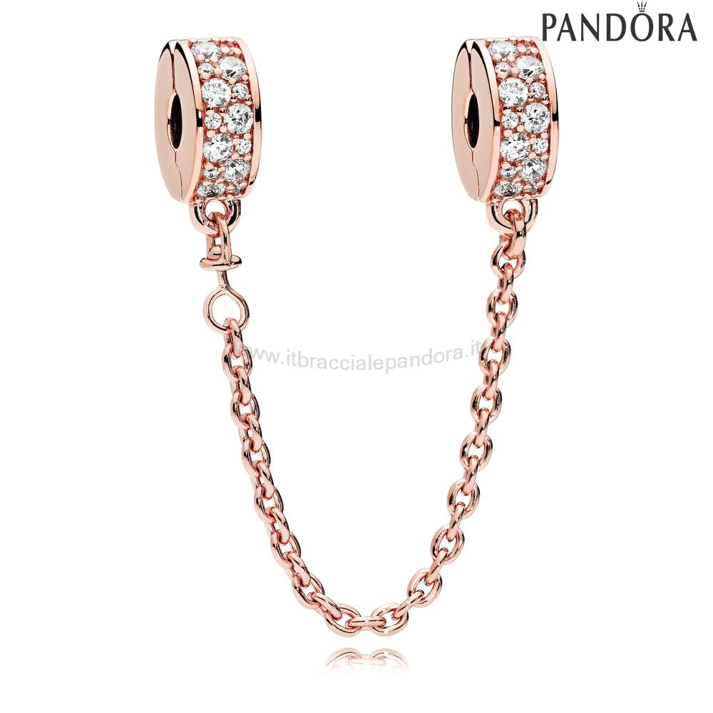 Outlet Pandora Eleganza Splendente Sicurezza Catena Rose Chiaro