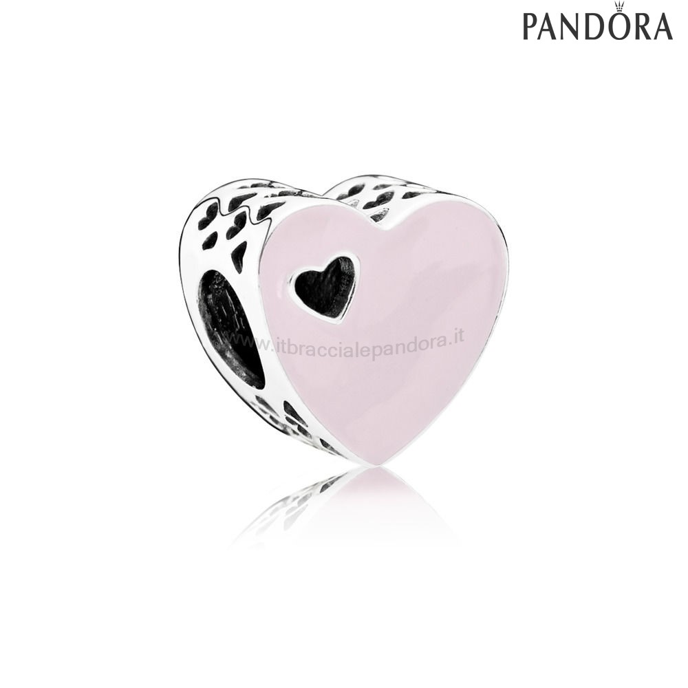 Outlet Pandora Heart Silver Charm With Pink Enamel