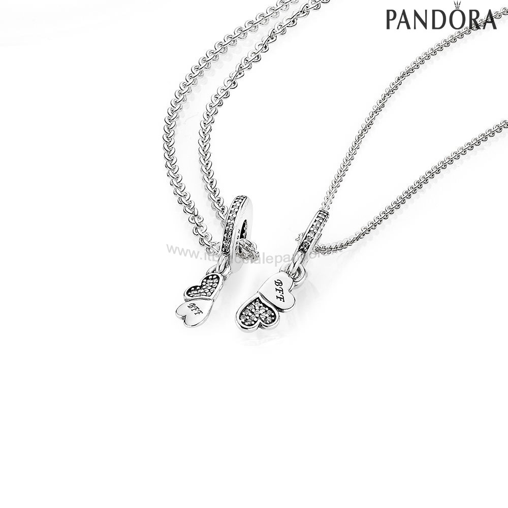 Outlet Pandora Hearts Silver Dangle With Clear Cubic Zirconia And Necklace