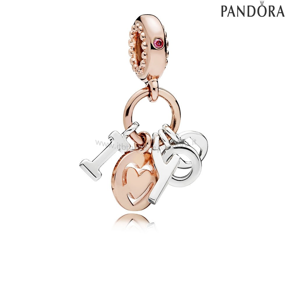 Outlet Pandora I Amore You Dangle Charm Rose Red