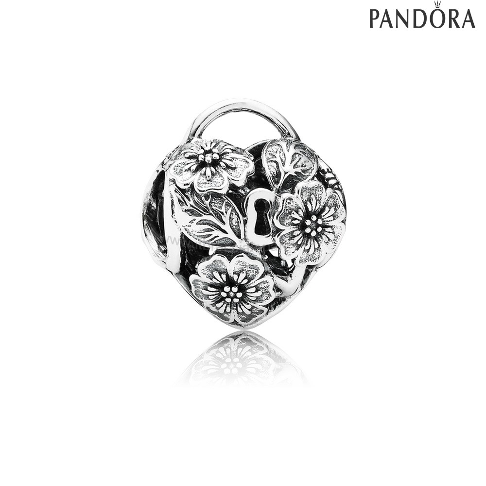 Outlet Pandora Lucchetto A Cuore Floreale Charm