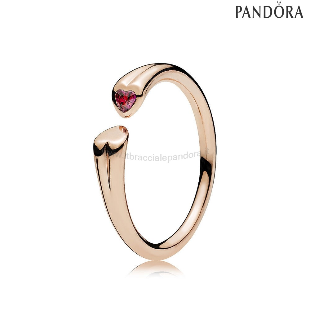 Outlet Pandora Two Cuores Anelli Rose Red Charm